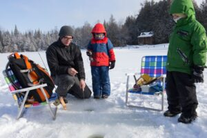 Northern Wisconsin ice fishing contest with family