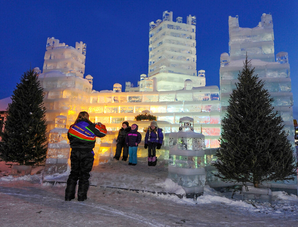 The Eagle River Ice Castle is one of Northwoods Wisconsin's Winter Wonders.
