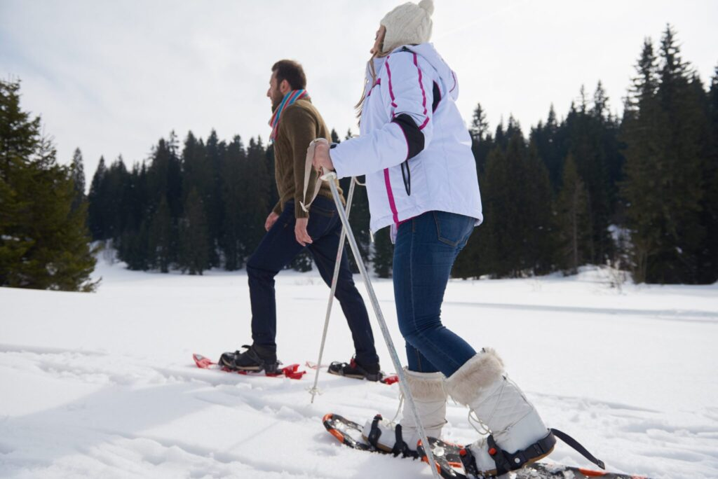 Snowshoeing on Plover River Trail