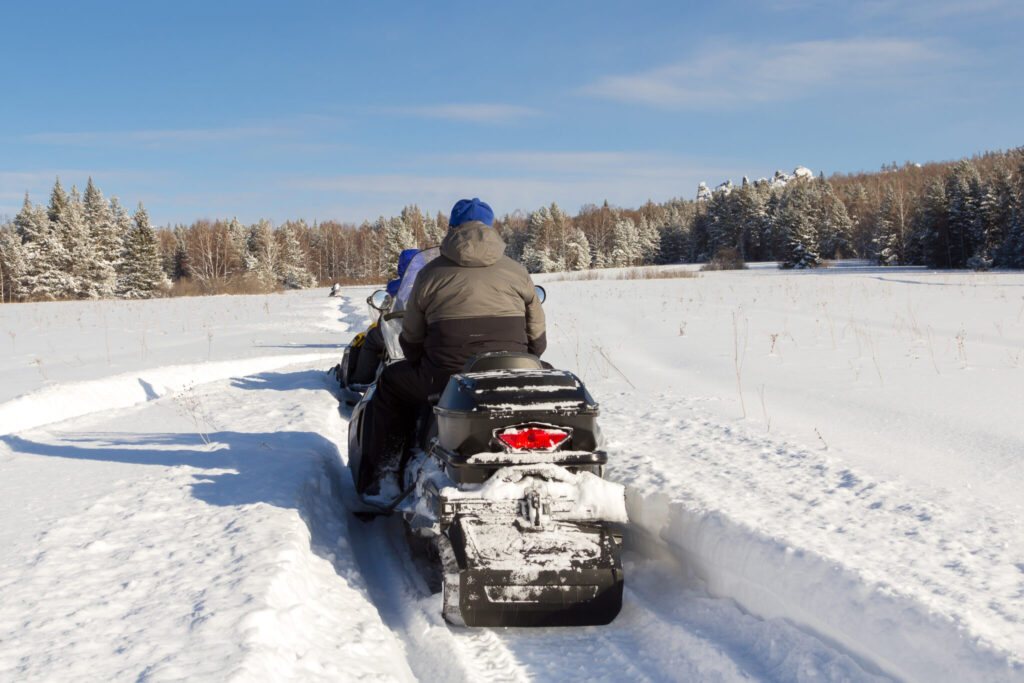 Snowmobiler on a Barron County Snowmobile Trail